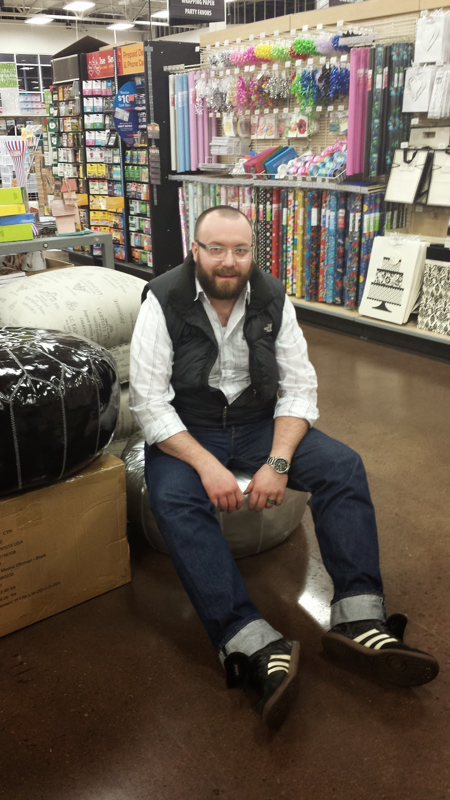 Trying out the furniture at Smith's Marketplace - The Redd Party