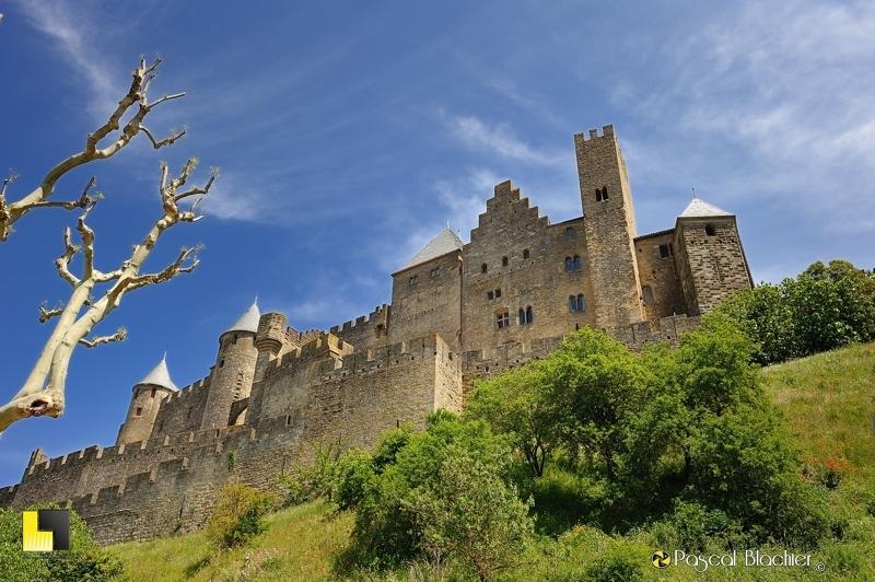 le château comtal de Carcassonne vu de la ville photo blachier pascal