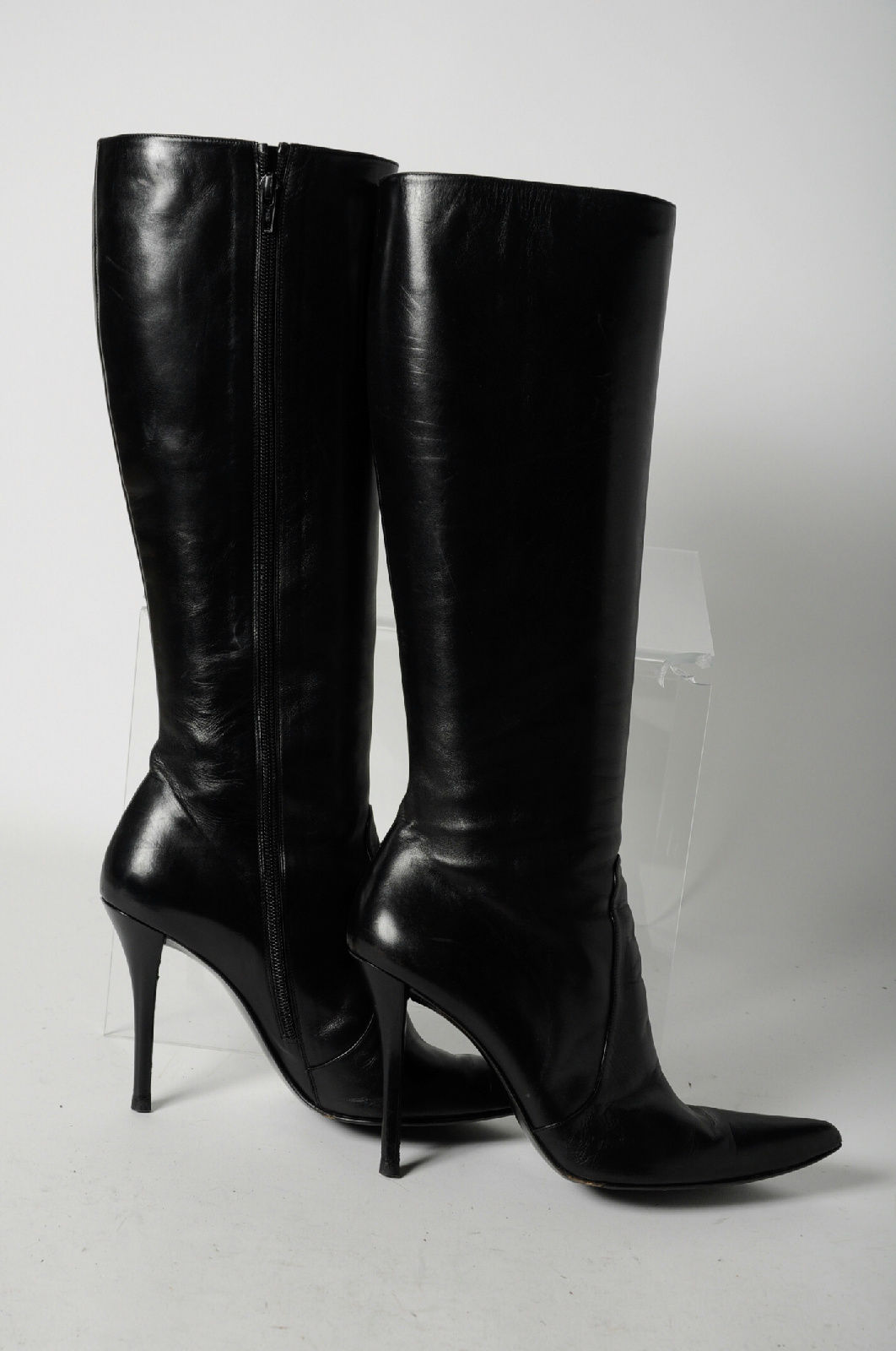 08003e27ede ... these knee-high boots. They re a classic style with sexy spiked heels  and pointed toes - perfect for wearing with a skirt or sweater dress to the  office ...