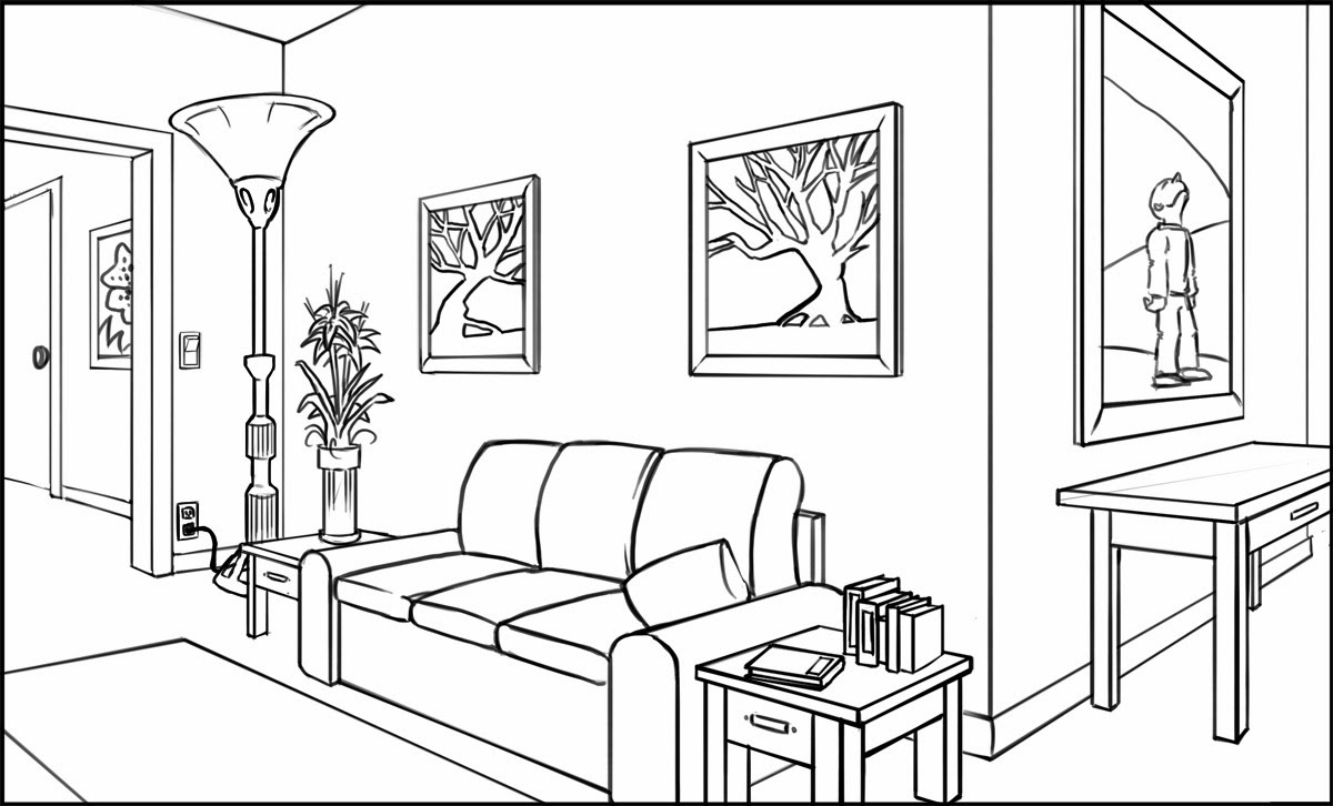 Living Room 2 Point Perspective 2 point perspective interior | modelismo-hld