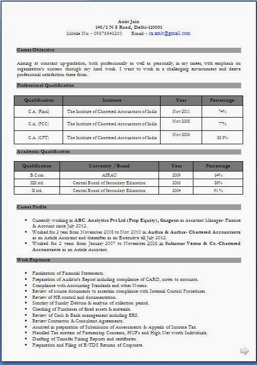 52 chartered accountant resume format download