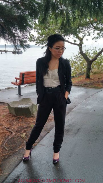wine and dine outfit black blazer black pants