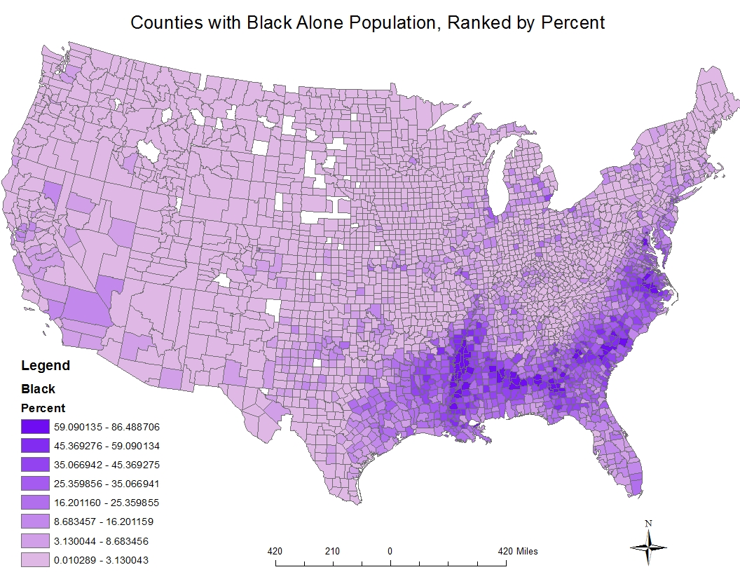 the first map is a representation of black alone population in counties by percent this data came from the 2000 census report for this map i chose shades