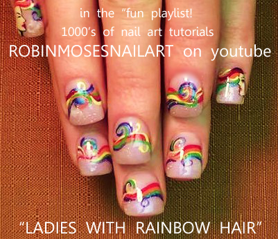 Rainbow Braided Hair With Ladies Nail Art Ro Easy Black And Red Nails For Prom Fancy D Robin Moses Flower Design
