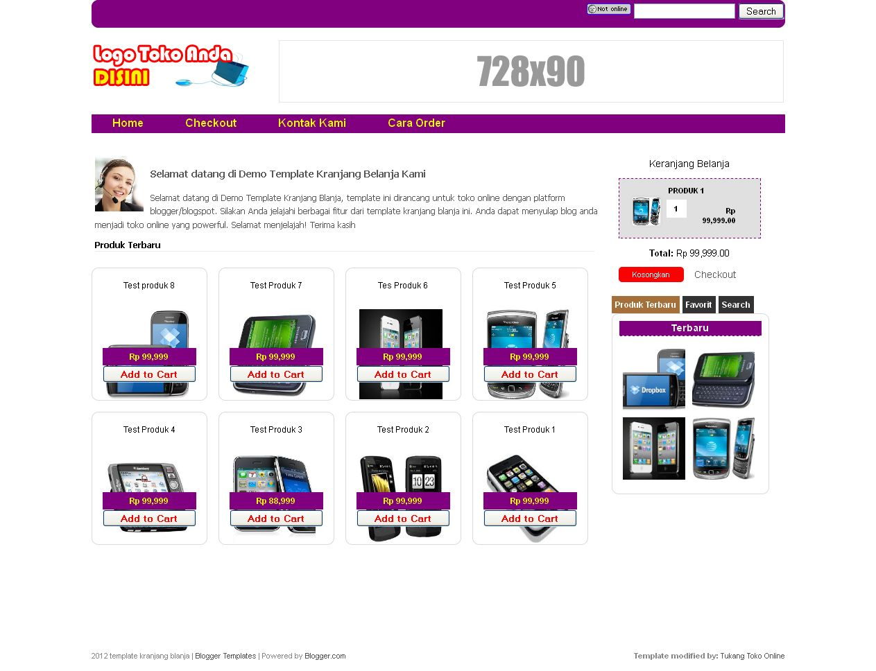 Template Toko Online Shopping Cart dengan Checkout via
