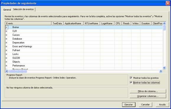 Transacciones en SQLProfiler, selección de eventos