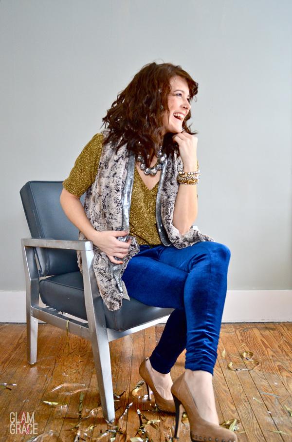 AKRON FASHION - holiday glam - velvet leggings, faux fur, sequins & metallic