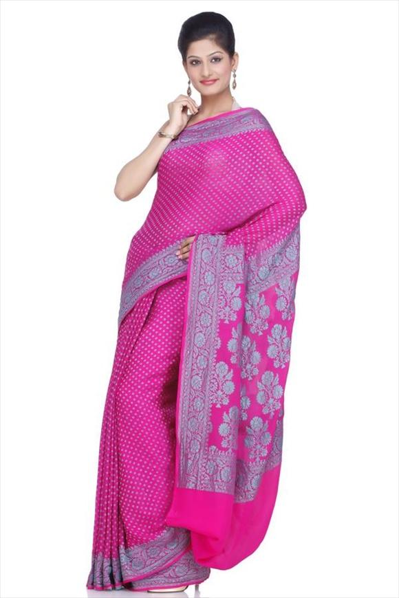 Rose Violet Mysore Banarasi Saree