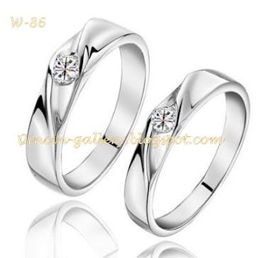 cincin kawin emas putih 18 karad masing masing 5 grm + diamond 0,10  2 ct