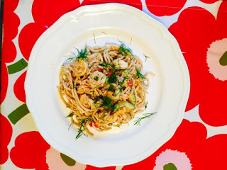 Lemony smoked salmon and prawn pasta