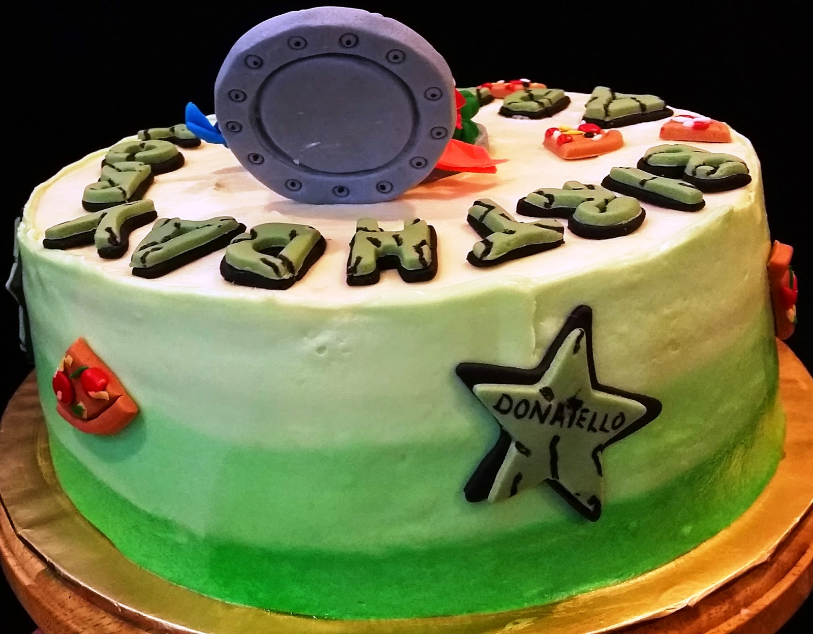 "... Creations: ""Cowabanga"" Ninja Turtle Rainbow cream cheese for ADAM"