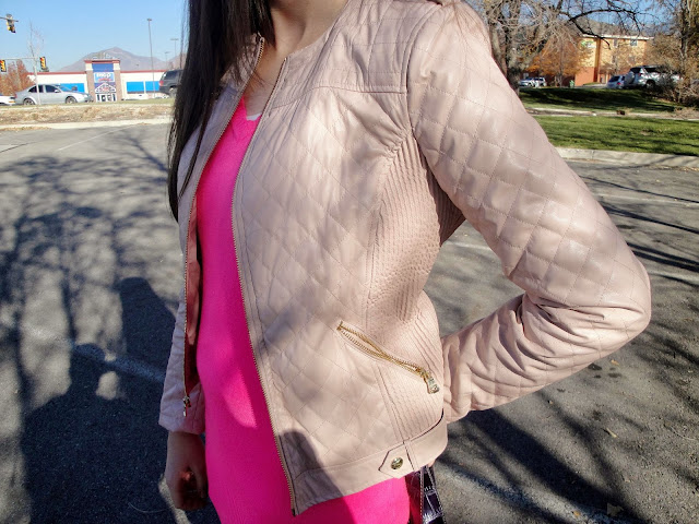 dillards boot, dillards, boots, long boots, knee boots, pink leather jacket, leather jacket, guess clothing, pink tunic, forever 21, forever21, f21