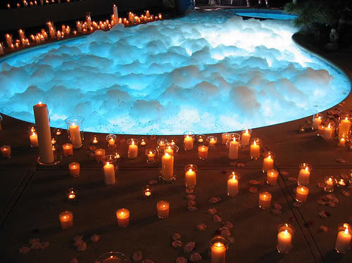 Romantic Backyard Date Ideas :  this kind of romance, jacuzzi or bath tub can be romatic place also