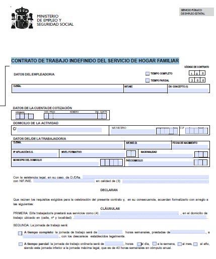 Modelo de contrato tipo oficial for Contrato trabajo indefinido servicio hogar familiar