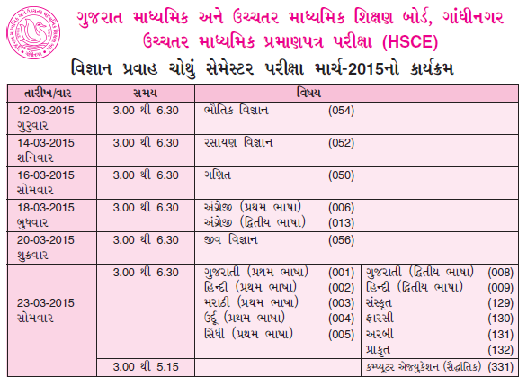Gujarat board 10th 12th exam time table 2015 for Rtu time table 4 th sem 2015