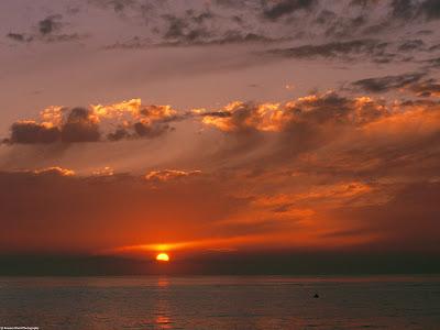 Orange Sunset in Pacific Ocean, California Wallpaper