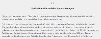 § 5 der Hausordnung der Hamburgischen Bürgerschaft als Screenshot