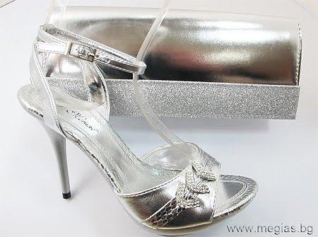 комплект сребърни обувки и чанта