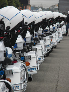 Police motorcycles lined up