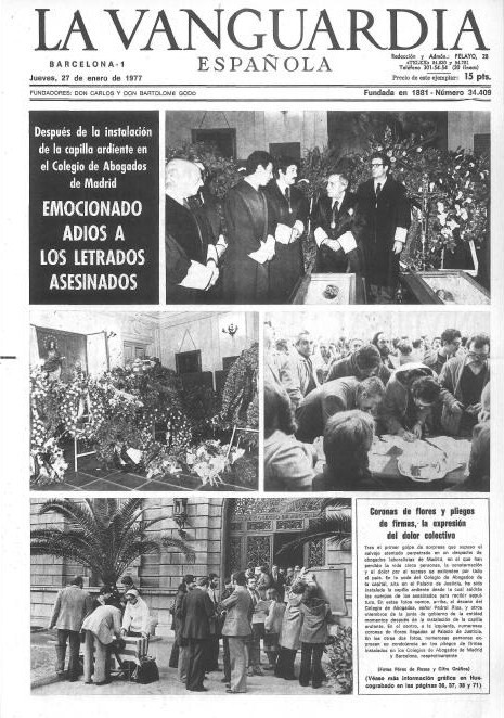 La matanza de atocha la matanza de atocha de 1977 - Portada de la vanguardia ...