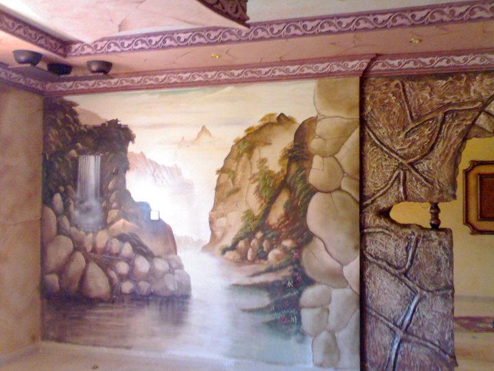 3d landscape wall mural art for Mural 3d art