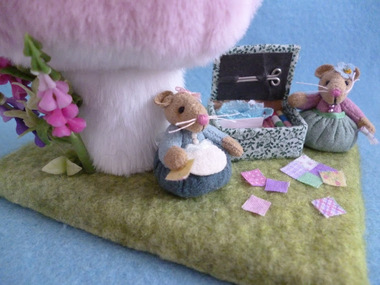 Sewing in the fairy meadow.