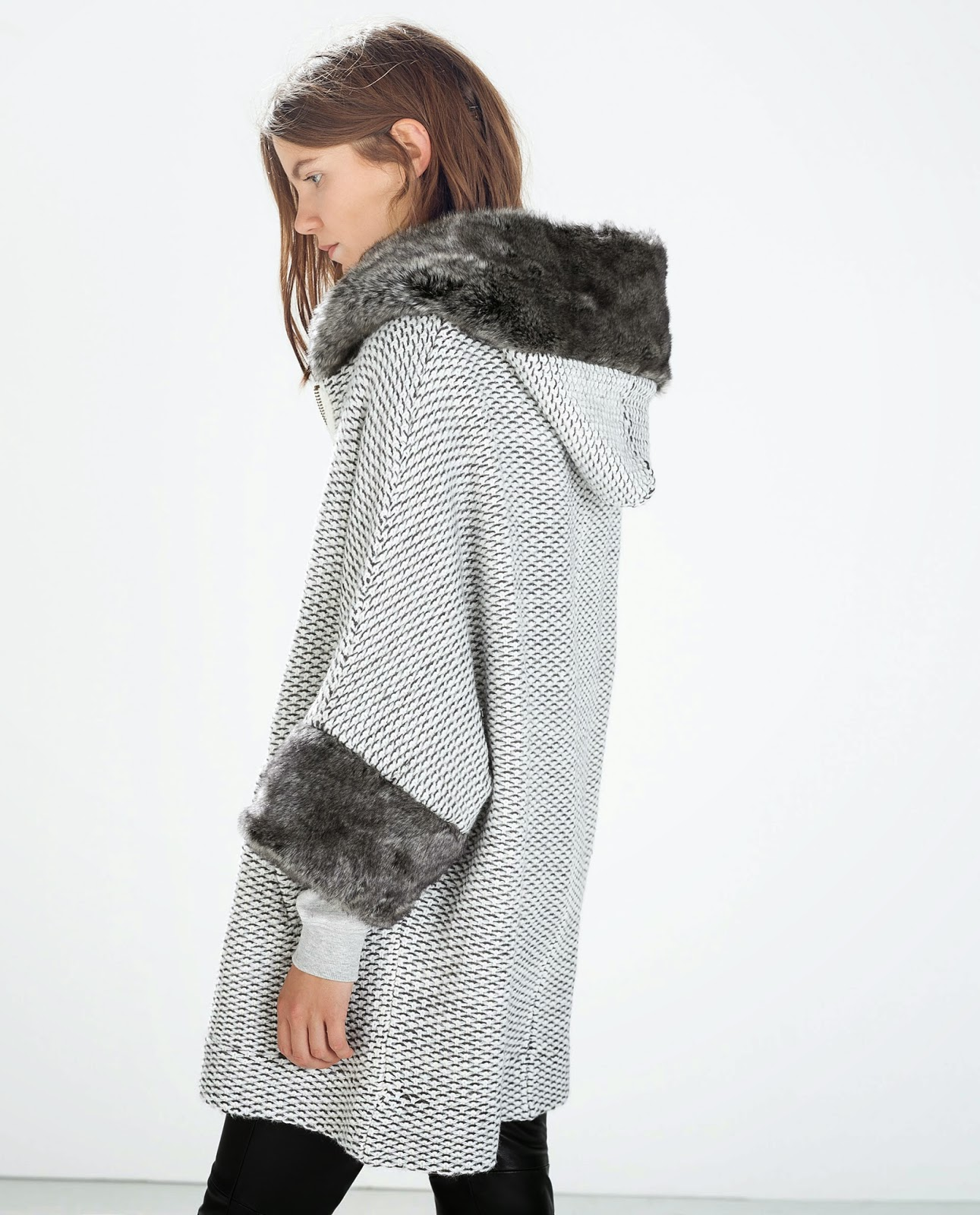 coat with fur hood zara
