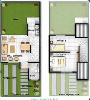 Planos de casas de 2 pisos de interes social for Fachadas de casas modernas de interes social