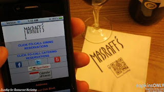 Masraff's ScanNap promotional napkin allow easy click-to-call dining reservations