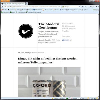 Screen shot of http://themoderngentleman.de/dinge-die-nicht-unbedingt-designt-werden-mussen-toilettenpapier/.