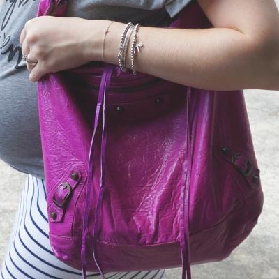 AwayFromTheBlue | Baby bump silver bracelet stack, Bal 05 magenta day chevre bag