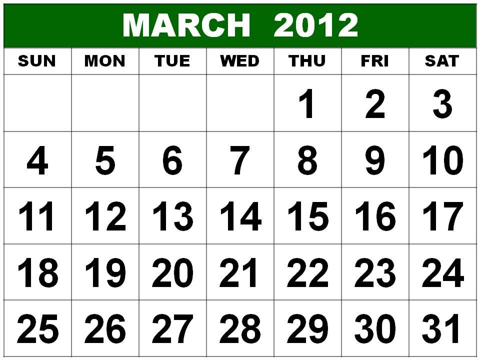 calendar march 2012. Printable March 2012 Calendar