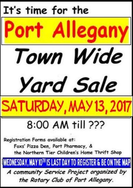 5-13 Town Wide Yard Sale, Port Allegany