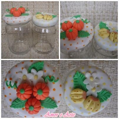 Vidro decorado em biscuit, pitanga e banana