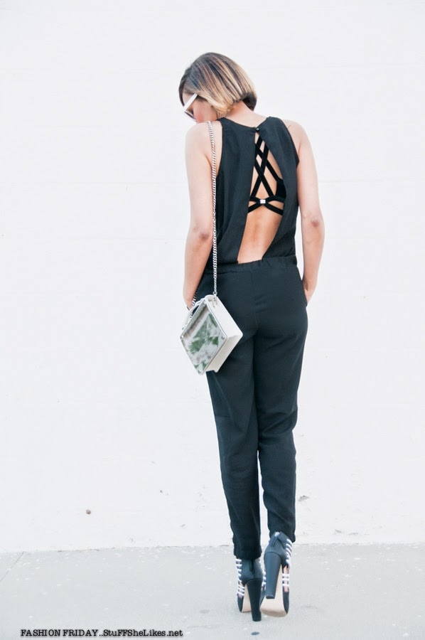 Black and white. jumpsuit, for love and lemons, shop sosie, black blogger, blonde hair, fashion blog, best fashion blog, top fashion blog, backless jumpsuit, short hair, short haircut, gwen stefani, shoe dazzle