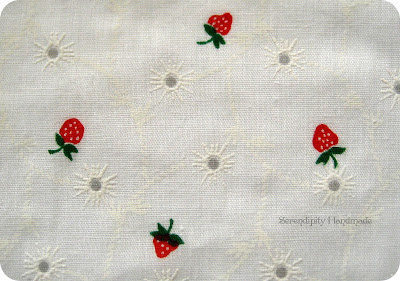 Vintage eyelet fabric with strawberry pattern at Serendipity Handmade