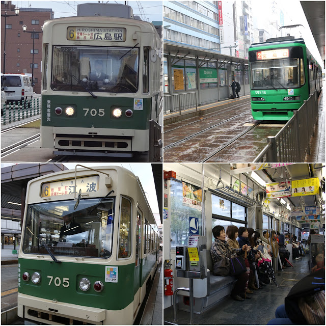 A convenient way to travel around Hiroshima downtown and attraction sites by taking this Streetcar (Hiroshima Electric Railway) which is located outside of Hiroshima Station in Japan