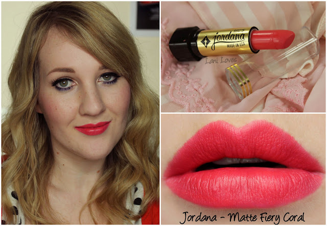 Jordana Matte Fiery Coral lipstick swatch