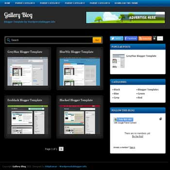 Gallery Blog blogger template. free blogspot template gallery style