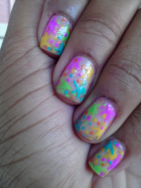 Naked nails, splatter, pink, yellow, blue, green, orange, nail art, nail design, mani