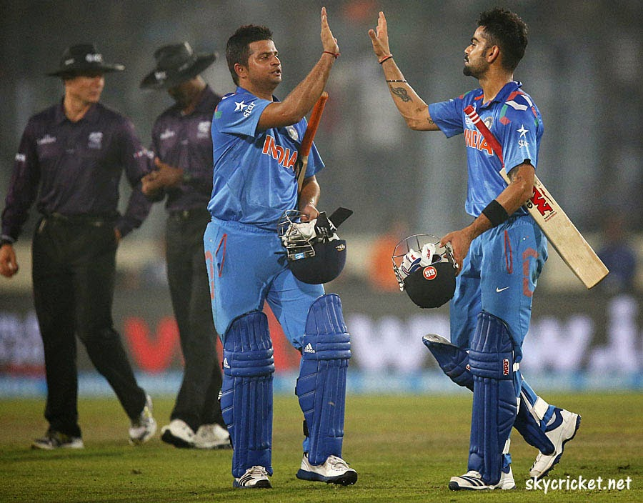 Raina and Kohli Celebrating Win against Pakistan in World Cup T20