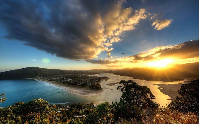 Tairua Wonderful Sunset Over Mount Paku New Zealand HD Desktop Wallpaper