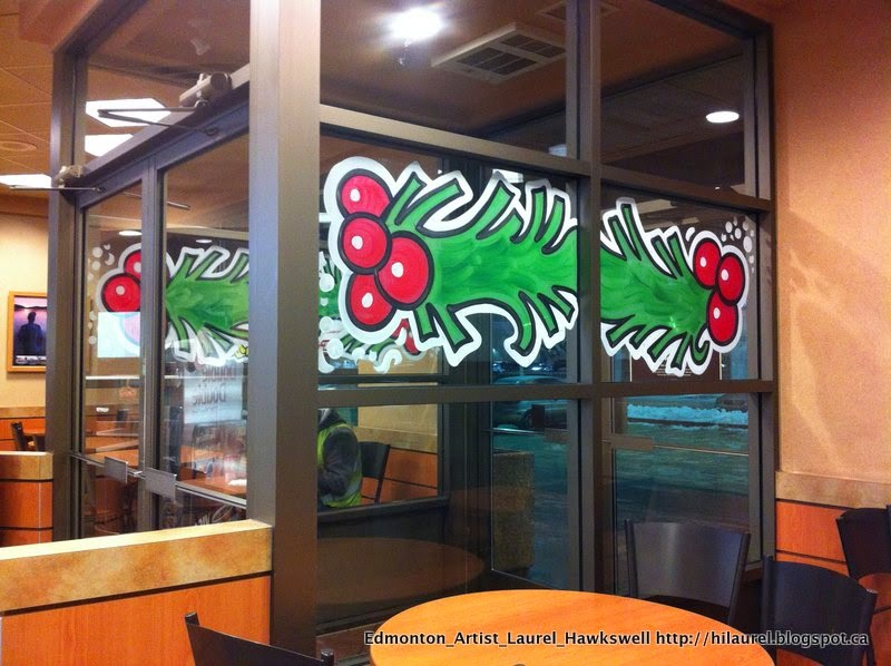 Edmonton Tim Hortons Christmas Window painting
