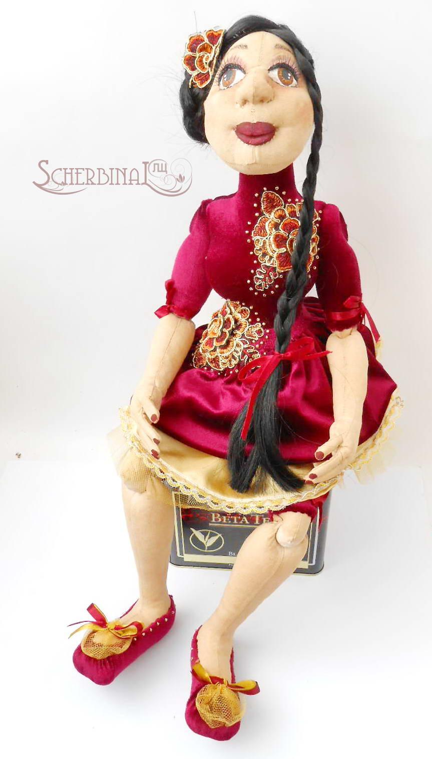 текстильная шарнирная кукла Кармен