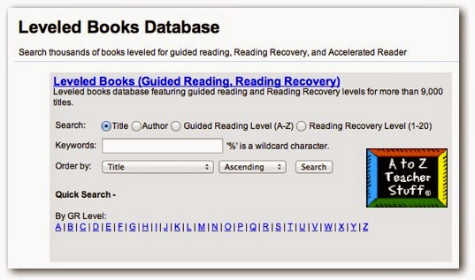 Leveled Books Database from A to Z Teacher Stuff