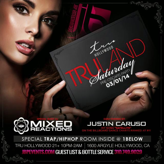 """Mixed Reactions at Tru Hollywood Nightclub flyer 640x640"""