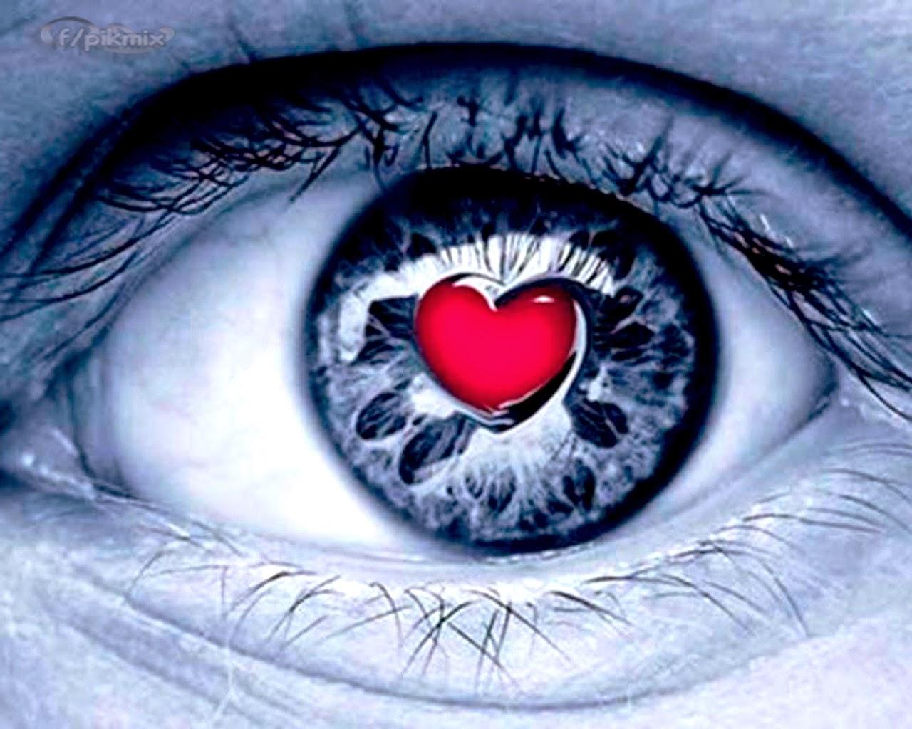 Corazón rojo •  Wallpaper , ojo
