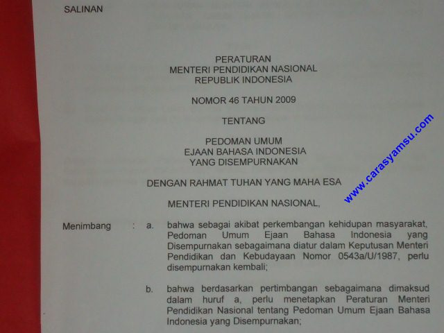 Pedoman Umum Ejaan Bahasa Indonesia yang Disempurnakan-EYD