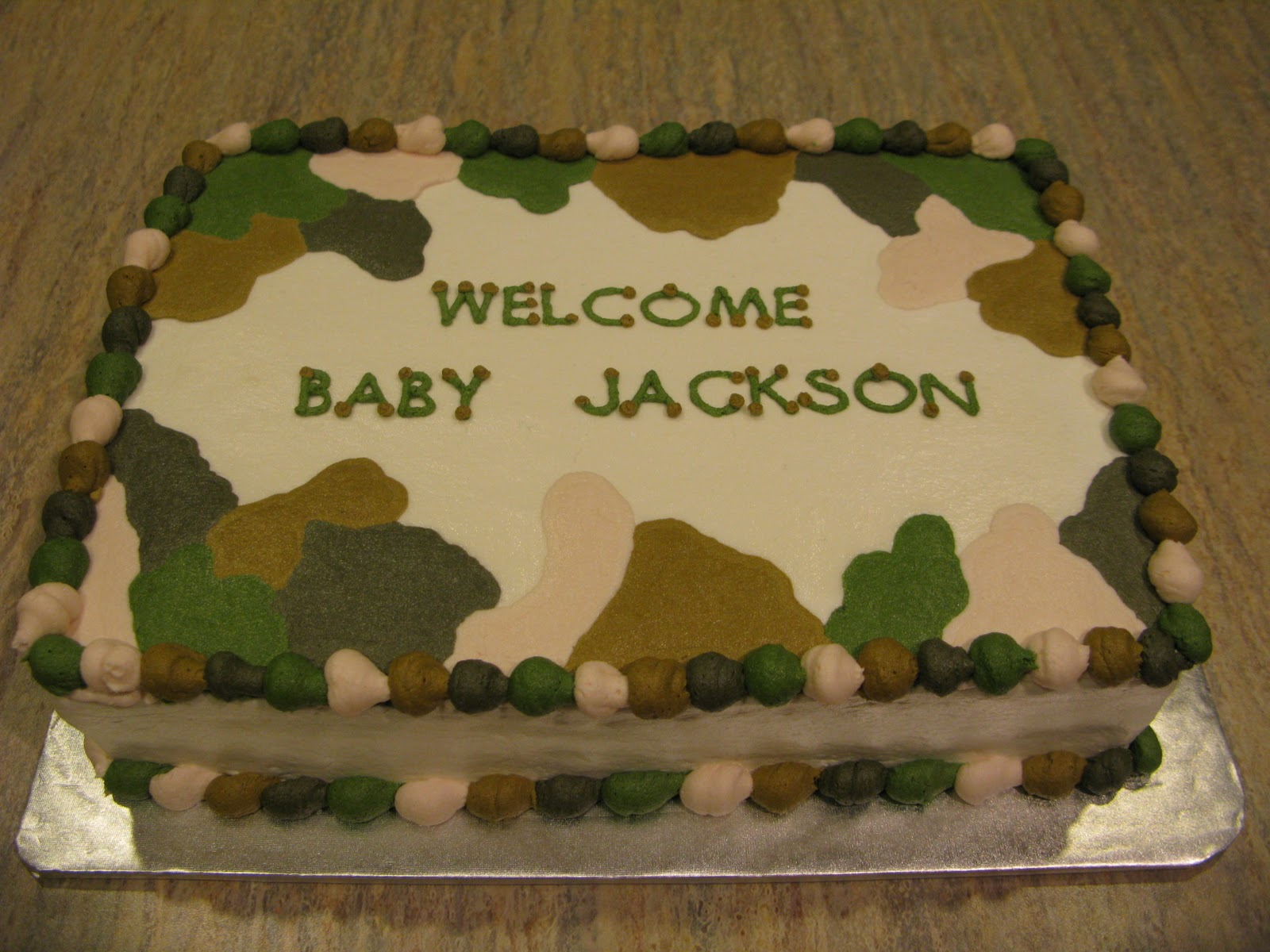 counselor 39 s confections camo themed baby shower cake
