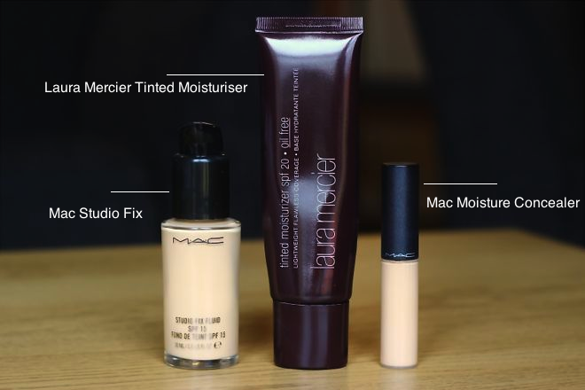 skincare base featuring Laura Mercier and Macs Studio Sculpt Foundation